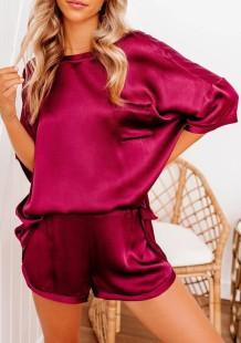 Летняя гладкая однотонная рубашка и шорты, пижамный комплект из 2 предметов
