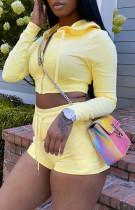 Chaqueta corta con capucha y pantalones cortos de manga larga amarilla de verano Chándal de 2 piezas