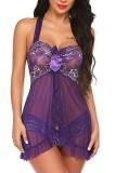 Conjunto de lingerie roxa de 2 peças para babydoll e calcinha de verão