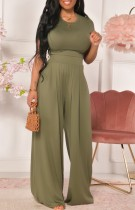Sommer Casual Green Crop Top und High Waist Wide Pants Matching Set