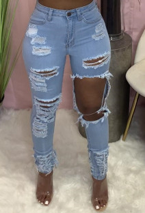 Summer Blue High Waist Cut Out Ripped Tight Jeans