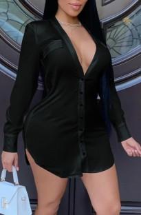 Summer Black Long Sleeve Deep-V Blouse Dress