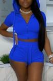 Yaz Mavi Kısa Kapüşonlu Ceket ve Şort 2PC Eşleşen Jogger Takım Elbise