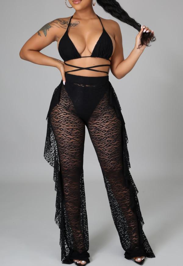 Set bikini nero estivo e pantaloni abbinati 3 pezzi