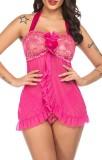 Conjunto de lingerie e calcinha de 2 peças em rosa de verão