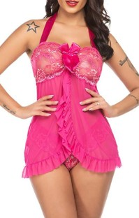 Summer Rose Babydoll und Panty 2-teiliges Dessous-Set