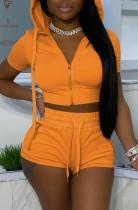 Summer Orange Chaqueta corta con capucha y pantalones cortos 2 piezas Jogger Suit