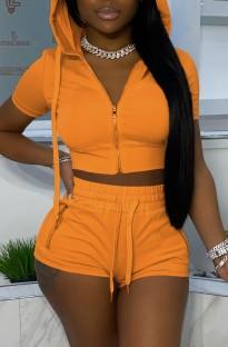 Jaqueta curta com capuz laranja verão e shorts 2 peças combinando com terno de corrida
