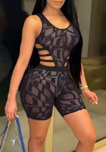 Summer Sexy Black Geommetric Transparente Ärmellose Bodycon Strampler