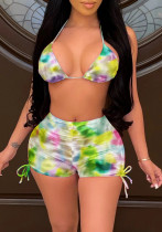 Summer Tie Dye BH und Shorts mit gerafften Strings 2PC Sexy Set