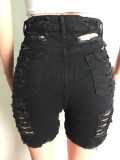 Summer Black High Waist Ripped Denim Shorts