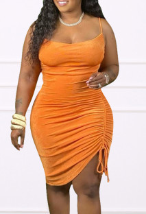 Summer Plus Size Orange Ruched Strings Strap Club Dress
