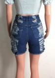 Pantaloncini di jeans strappati a vita alta blu estivi