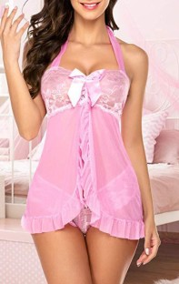 Summer Pink Babydoll und Panty 2-teiliges Dessous-Set