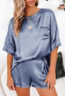 Conjunto de pijama de 2 piezas de camisa y pantalones cortos lisos de color sólido de verano