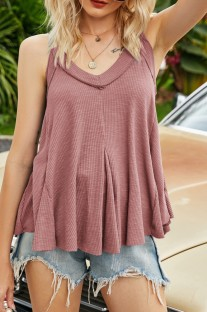 Summer Solid Color Fit and Flare Ruffles Halter Vest