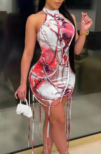 Yaz Boyaları Baskı İpleri Yuvarlak Yaka Mini Bodycon Elbise