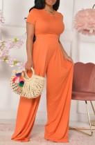 Sommer Casual Orange Crop Top und High Waist Wide Pants Matching Set