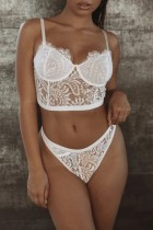 Conjunto de lingerie sexy de 2 peças de renda branca para verão