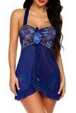 Conjunto de lingerie de 2 peças de babydoll e calcinha azul de verão
