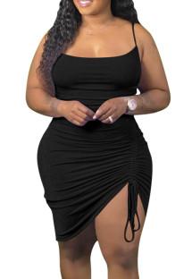 Vestido de club con tirantes fruncidos negros de talla grande de verano