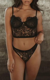 Summer Sexy Black Lace and Panty Conjunto de lencería de 2 piezas