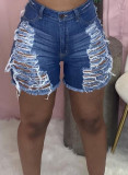 Summer Blue High Waist Ripped Denim Shorts