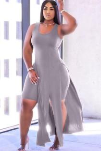 Summer Grey Slit Long Top and Tight Shorts 2PC Matching Set