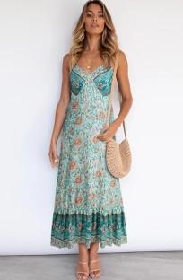 Summer Bohemian Print Green Strap Long Maxi Dress