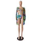 Summer Print High Waist 3 Piece Cover-Up Swimwear Set