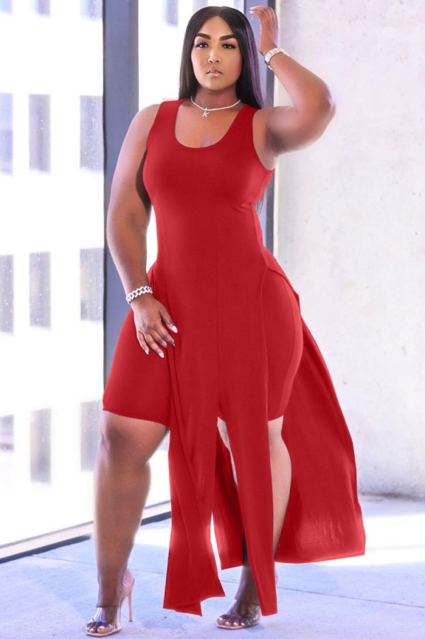 Summer Red Slit Long Top and Tight Shorts 2PC Matching Set