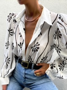 Spring White Floral Long Sleeve Collar Blouse
