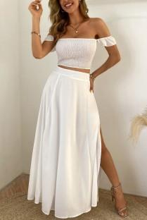 Summer White Fruncido Crop Top y Slit Long Skirt 2PC Matching Set