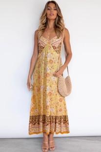 Vestido largo largo con tirantes amarillos y estampado bohemio de verano