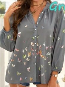 Blusa de manga comprida com decote em V solto cinza verão estampa borboleta