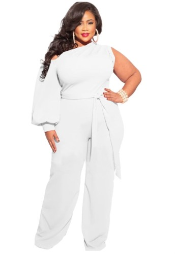 Summer Plus Size White One Shoulder Formal Jumpsuit with Single Sleeve