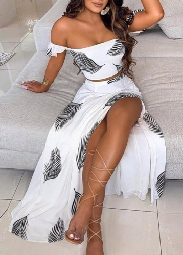 Summer Print White Ruched Crop Top and Slit Long Skirt 2PC Matching Sundress Set