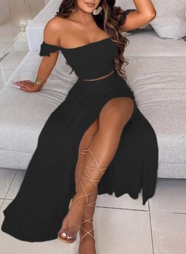 Summer Black Ruched Crop Top and Slit Long Skirt 2PC Matching Sundress Set
