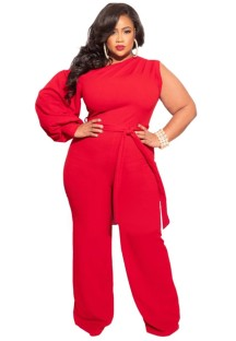 Summer Plus Size Red One Shoulder Formal Jumpsuit with Single Sleeve