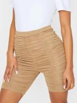 Shorts de cintura alta caqui sexy com franzido
