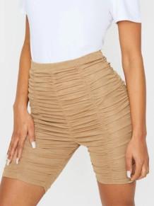 Pantalones cortos de cintura alta acanalados sexy de color caqui de verano