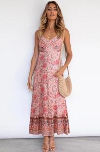 Vestido largo largo con tirantes rosa y estampado bohemio de verano