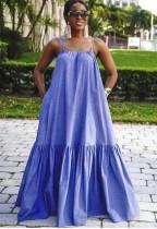 Sommerblaues langes Maxi-Sommerkleid mit Flare-Trägern