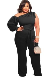 Summer Plus Size Black One Shoulder Formal Jumpsuit with Single Sleeve