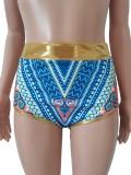 Summer African Dashiki Print Aushöhlen Zweiteilige Badebekleidung mit hoher Taille