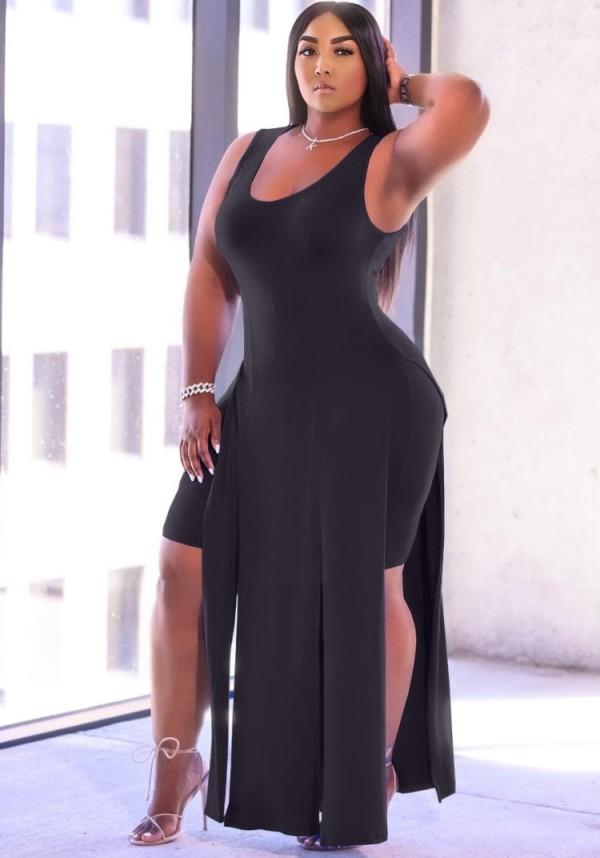 Summer Black Slit Long Top and Tight Shorts 2PC Matching Set