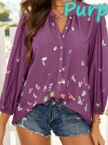 Blusa de manga longa com estampa borboleta roxa de verão e decote em V solto