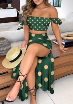 Summer Print Green Ruched Crop Top and Slit Long Skirt 2PC Matching Set
