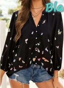 Летняя черная свободная блузка с длинным рукавом и V-образным вырезом с принтом бабочек