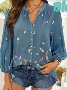 Blusa de manga comprida com decote em V solto com estampa de borboleta azul verão